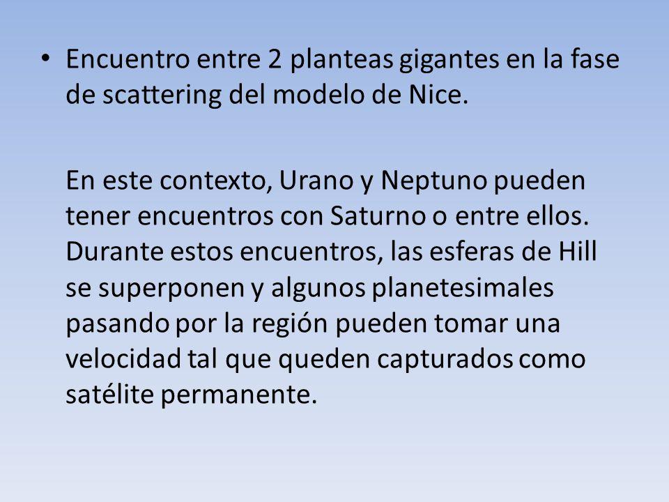 Encuentro entre 2 planteas gigantes en la fase de scattering del modelo de Nice. En este contexto, Urano y Neptuno pueden tener encuentros con Saturno