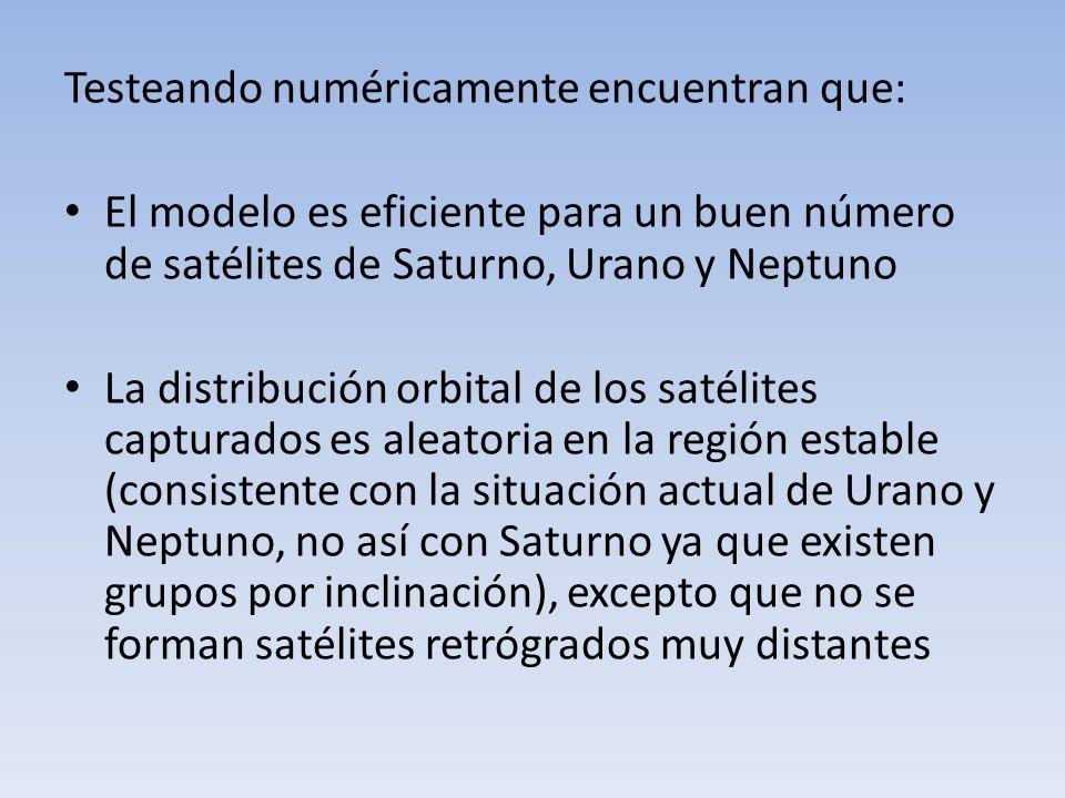 Testeando numéricamente encuentran que: El modelo es eficiente para un buen número de satélites de Saturno, Urano y Neptuno La distribución orbital de