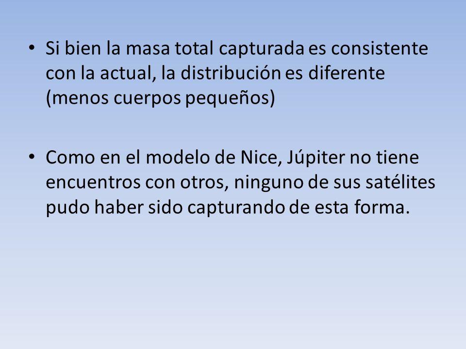 Si bien la masa total capturada es consistente con la actual, la distribución es diferente (menos cuerpos pequeños) Como en el modelo de Nice, Júpiter