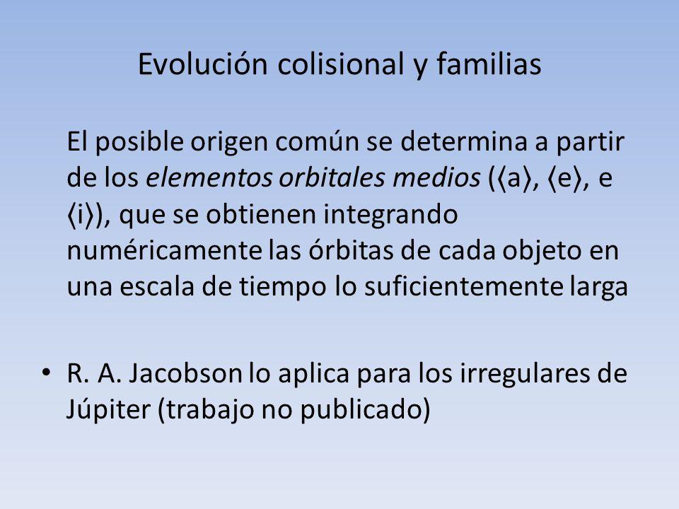 Evolución colisional y familias El posible origen común se determina a partir de los elementos orbitales medios ( a, e, e i ), que se obtienen integra