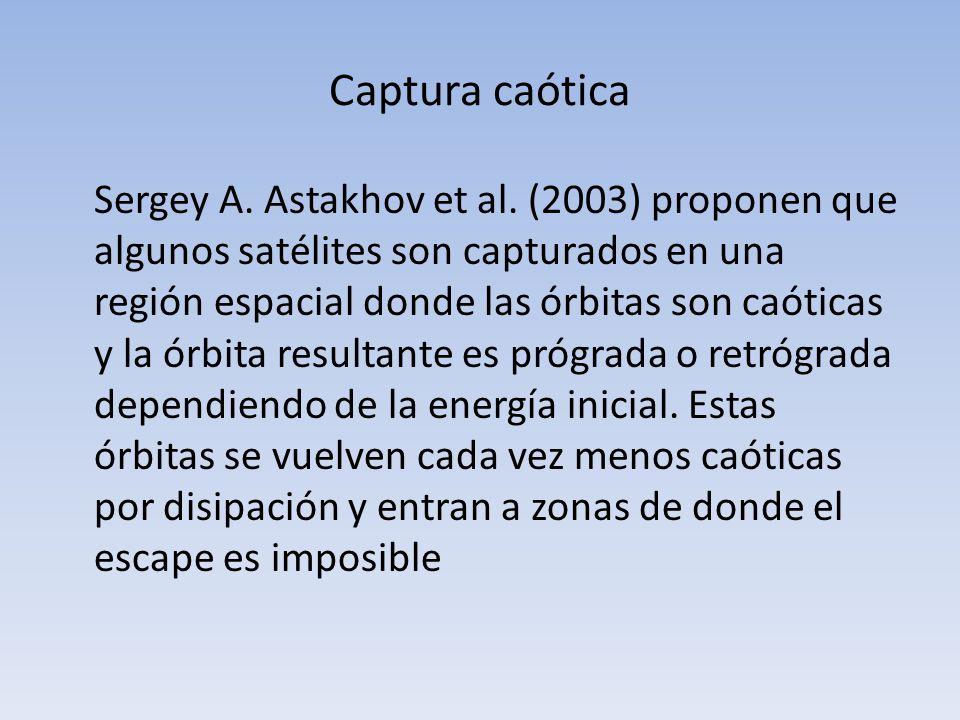 Captura caótica Sergey A. Astakhov et al. (2003) proponen que algunos satélites son capturados en una región espacial donde las órbitas son caóticas y