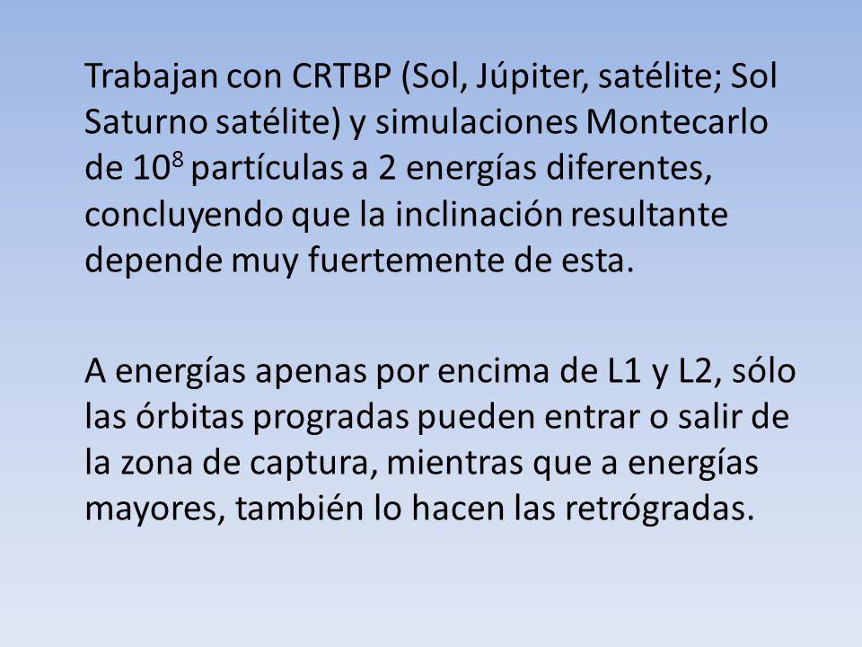 Trabajan con CRTBP (Sol, Júpiter, satélite; Sol Saturno satélite) y simulaciones Montecarlo de 10 8 partículas a 2 energías diferentes, concluyendo qu