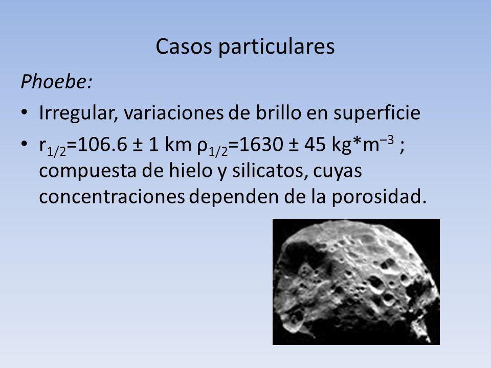 Casos particulares Phoebe: Irregular, variaciones de brillo en superficie r 1/2 =106.6 ± 1 km ρ 1/2 =1630 ± 45 kg*m –3 ; compuesta de hielo y silicato