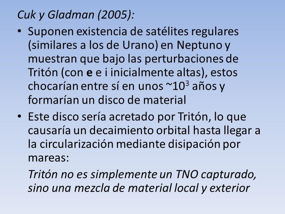 Cuk y Gladman (2005): Suponen existencia de satélites regulares (similares a los de Urano) en Neptuno y muestran que bajo las perturbaciones de Tritón