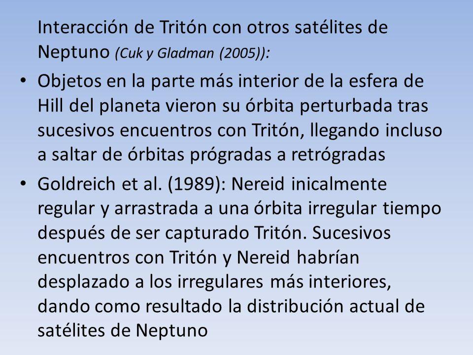 Interacción de Tritón con otros satélites de Neptuno (Cuk y Gladman (2005)) : Objetos en la parte más interior de la esfera de Hill del planeta vieron