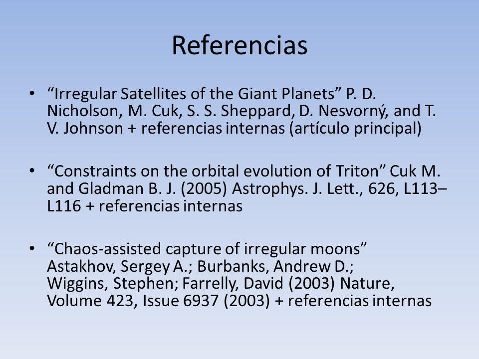 Referencias Irregular Satellites of the Giant Planets P. D. Nicholson, M. Cuk, S. S. Sheppard, D. Nesvorný, and T. V. Johnson + referencias internas (