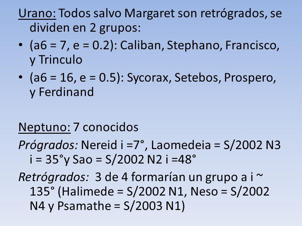 Urano: Todos salvo Margaret son retrógrados, se dividen en 2 grupos: (a6 = 7, e = 0.2): Caliban, Stephano, Francisco, y Trinculo (a6 = 16, e = 0.5): S