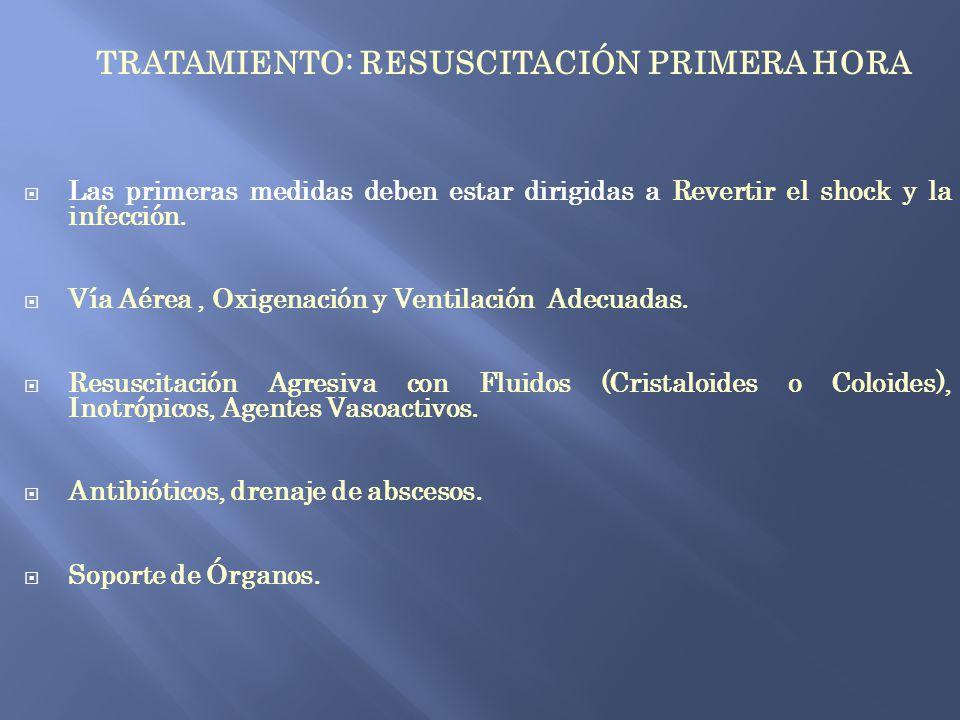 TRATAMIENTO: RESUSCITACIÓN PRIMERA HORA Las primeras medidas deben estar dirigidas a Revertir el shock y la infección. Vía Aérea, Oxigenación y Ventil