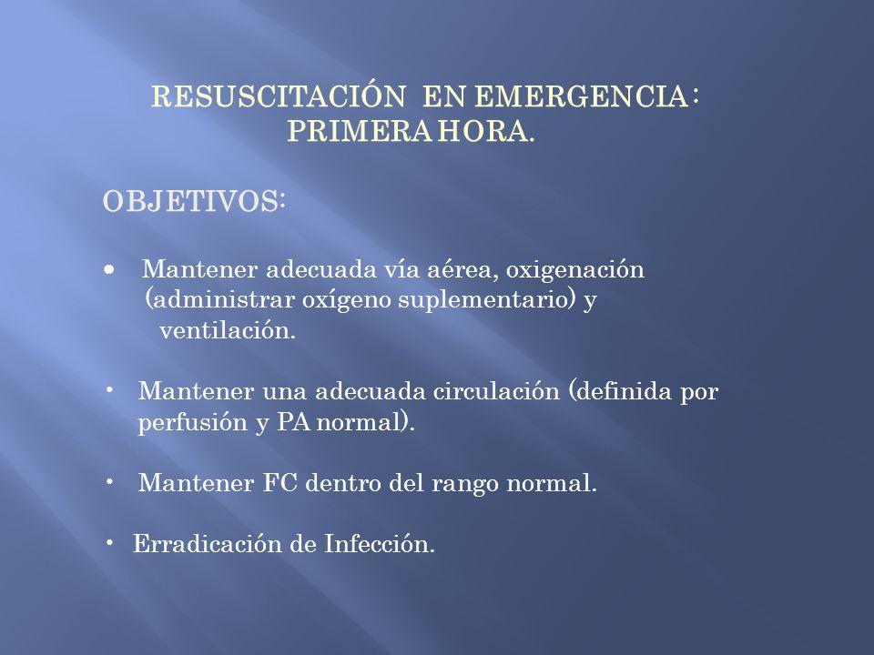 RESUSCITACIÓN EN EMERGENCIA : PRIMERA HORA. OBJETIVOS: Mantener adecuada vía aérea, oxigenación (administrar oxígeno suplementario) y ventilación. Man