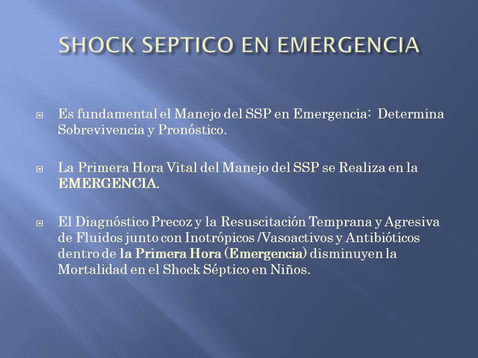 Es fundamental el Manejo del SSP en Emergencia: Determina Sobrevivencia y Pronóstico. La Primera Hora Vital del Manejo del SSP se Realiza en la EMERGE