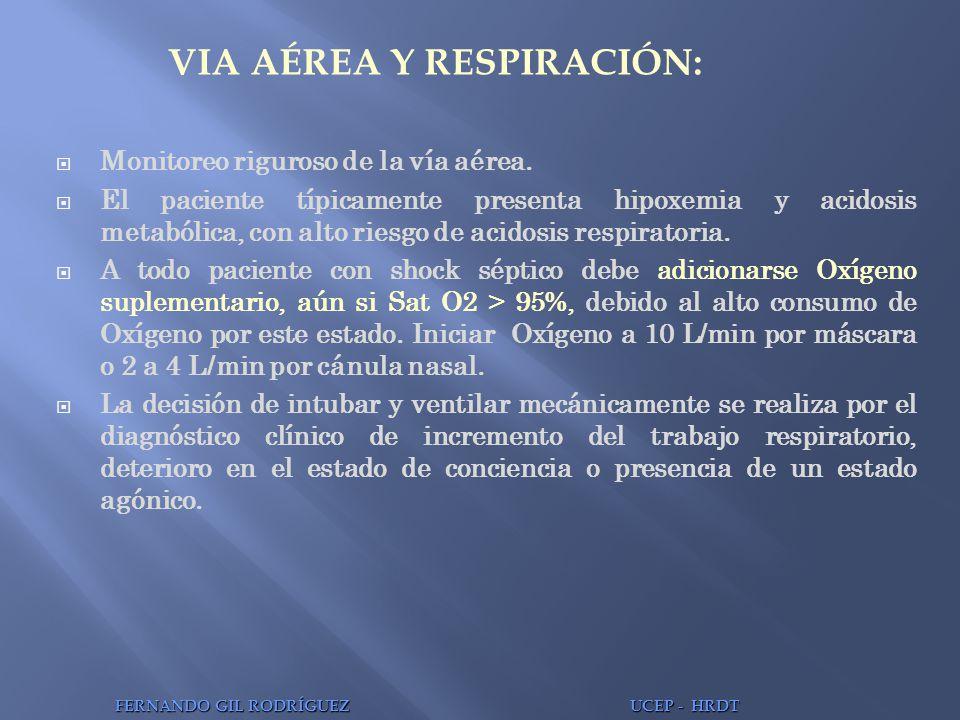 VIA AÉREA Y RESPIRACIÓN: Monitoreo riguroso de la vía aérea. El paciente típicamente presenta hipoxemia y acidosis metabólica, con alto riesgo de acid