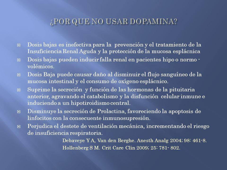Dosis bajas es inefectiva para la prevención y el tratamiento de la Insuficiencia Renal Aguda y la protección de la mucosa esplácnica Dosis bajas pued