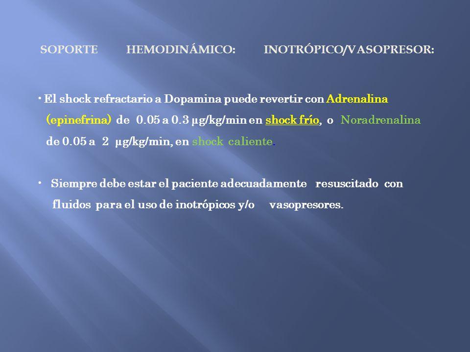 SOPORTE HEMODINÁMICO: INOTRÓPICO/VASOPRESOR: El shock refractario a Dopamina puede revertir con Adrenalina (epinefrina) de 0.05 a 0.3 µg/kg/min en sho