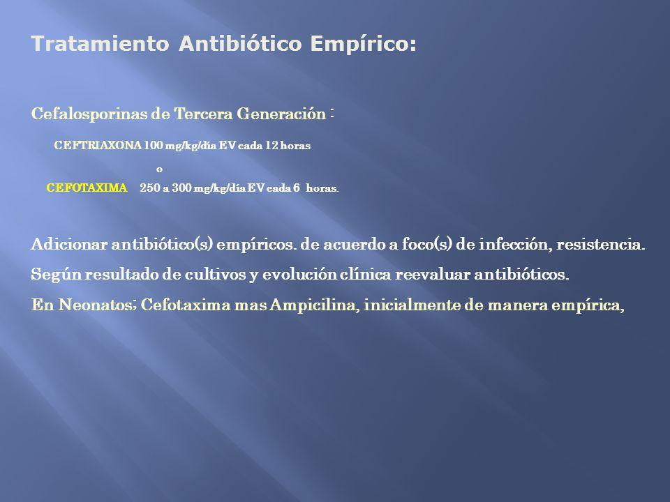 Tratamiento Antibiótico Empírico: Cefalosporinas de Tercera Generación : CEFTRIAXONA 100 mg/kg/día EV cada 12 horas o CEFOTAXIMA 250 a 300 mg/kg/día E