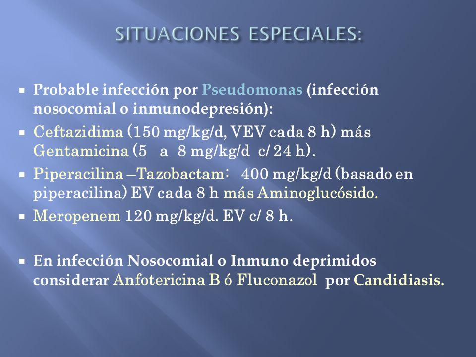 Probable infección por Pseudomonas (infección nosocomial o inmunodepresión): Ceftazidima (150 mg/kg/d, VEV cada 8 h) más Gentamicina (5 a 8 mg/kg/d c/