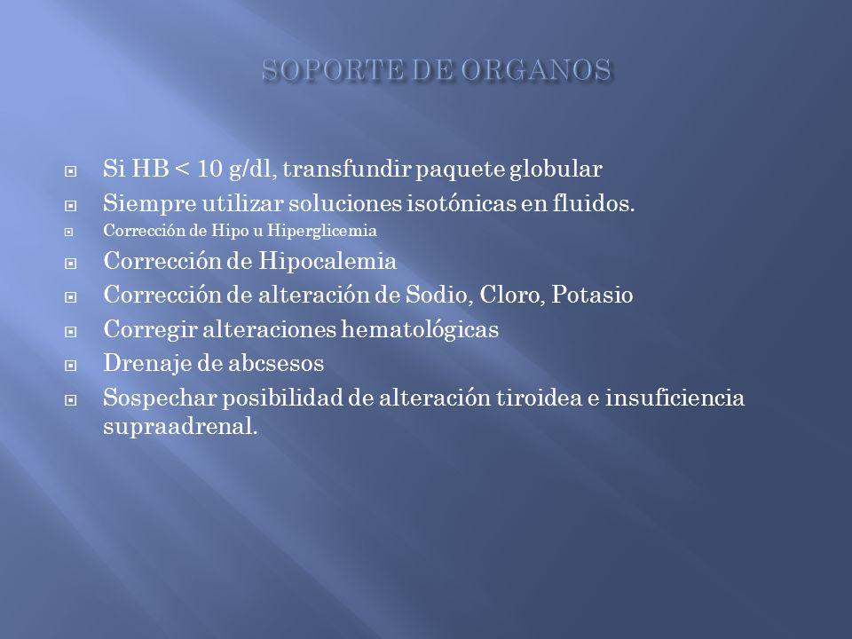 Si HB < 10 g/dl, transfundir paquete globular Siempre utilizar soluciones isotónicas en fluidos. Corrección de Hipo u Hiperglicemia Corrección de Hipo