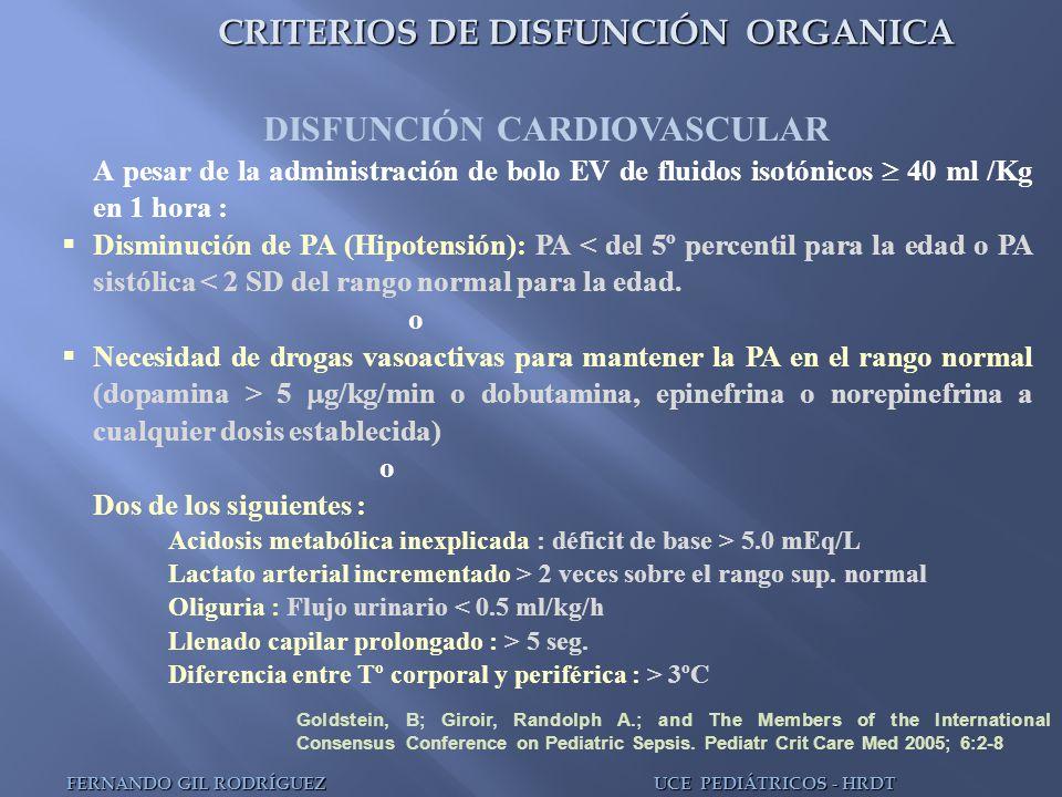 CRITERIOS DE DISFUNCIÓN ORGANICA DISFUNCIÓN CARDIOVASCULAR A pesar de la administración de bolo EV de fluidos isotónicos 40 ml /Kg en 1 hora : Disminu