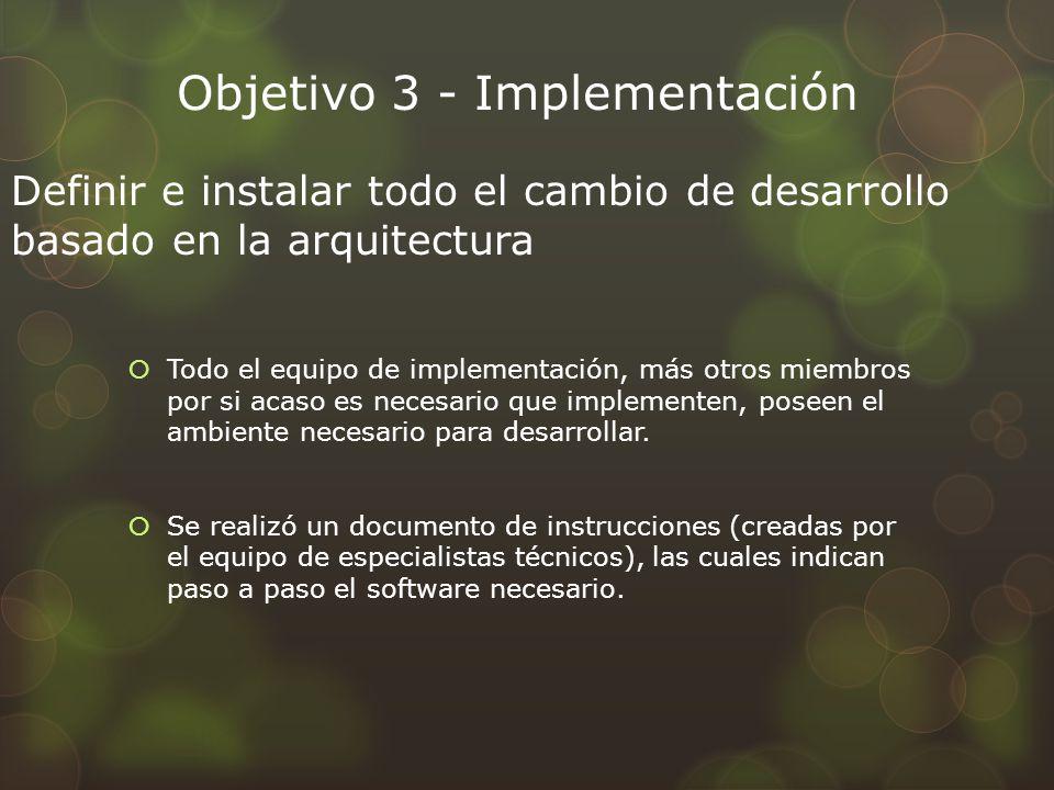 Objetivo 3 - Implementación Todo el equipo de implementación, más otros miembros por si acaso es necesario que implementen, poseen el ambiente necesario para desarrollar.