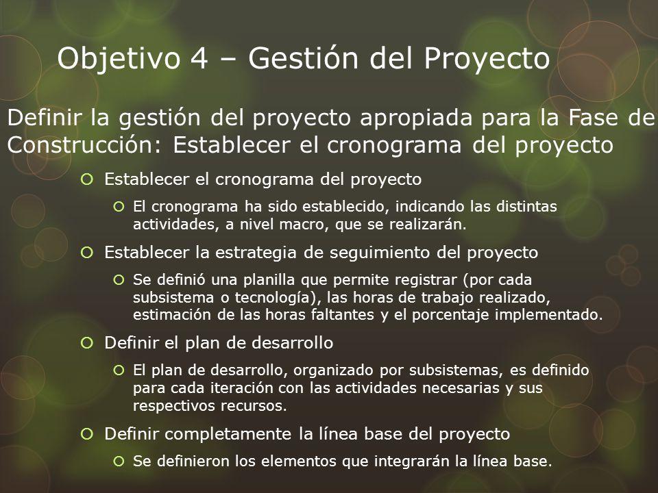 Objetivo 4 – Gestión del Proyecto Establecer el cronograma del proyecto El cronograma ha sido establecido, indicando las distintas actividades, a nive