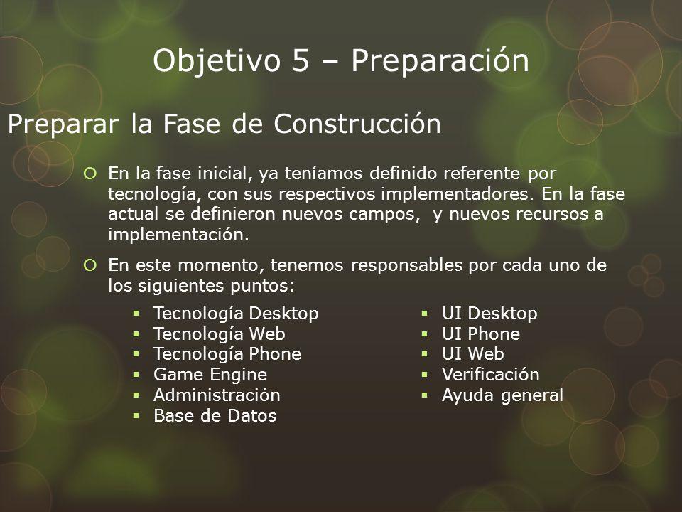 Objetivo 5 – Preparación En la fase inicial, ya teníamos definido referente por tecnología, con sus respectivos implementadores. En la fase actual se