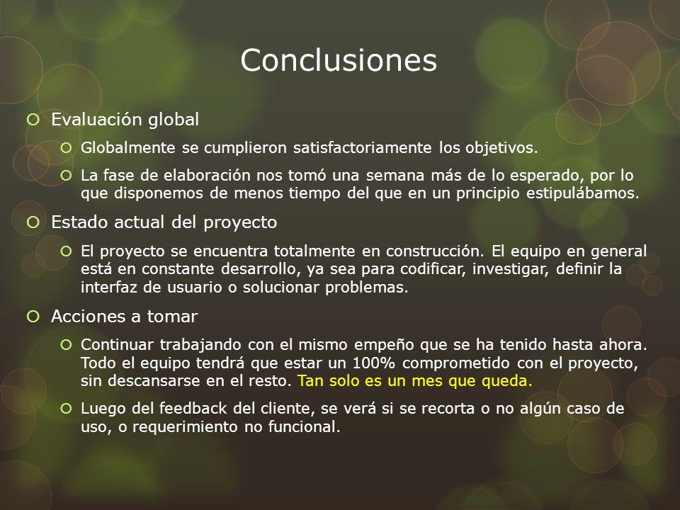 Conclusiones Evaluación global Globalmente se cumplieron satisfactoriamente los objetivos. La fase de elaboración nos tomó una semana más de lo espera