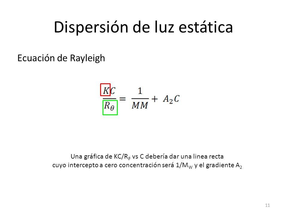 Dispersión de luz estática Ecuación de Rayleigh Una gráfica de KC/R vs C debería dar una linea recta cuyo intercepto a cero concentración será 1/M W y el gradiente A 2 11