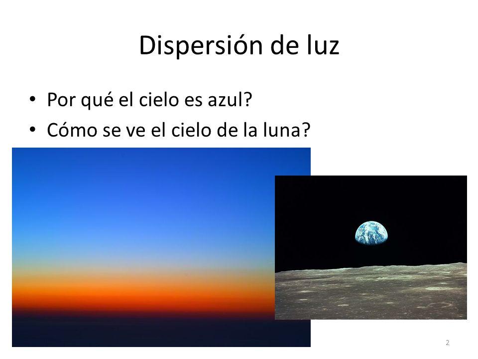 Dispersión de luz Por qué el cielo es azul? Cómo se ve el cielo de la luna? 2