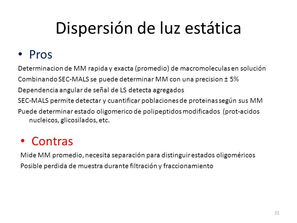 Dispersión de luz estática Pros Determinacion de MM rapida y exacta (promedio) de macromoleculas en solución Combinando SEC-MALS se puede determinar MM con una precision ± 5% Dependencia angular de señal de LS detecta agregados SEC-MALS permite detectar y cuantificar poblaciones de proteinas según sus MM Puede determinar estado oligomerico de polipeptidos modificados (prot-acidos nucleicos, glicosilados, etc.