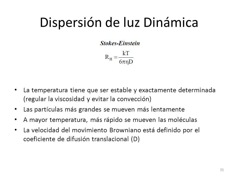 Dispersión de luz Dinámica La temperatura tiene que ser estable y exactamente determinada (regular la viscosidad y evitar la convección) Las partículas más grandes se mueven más lentamente A mayor temperatura, más rápido se mueven las moléculas La velocidad del movimiento Browniano está definido por el coeficiente de difusión translacional (D) 35