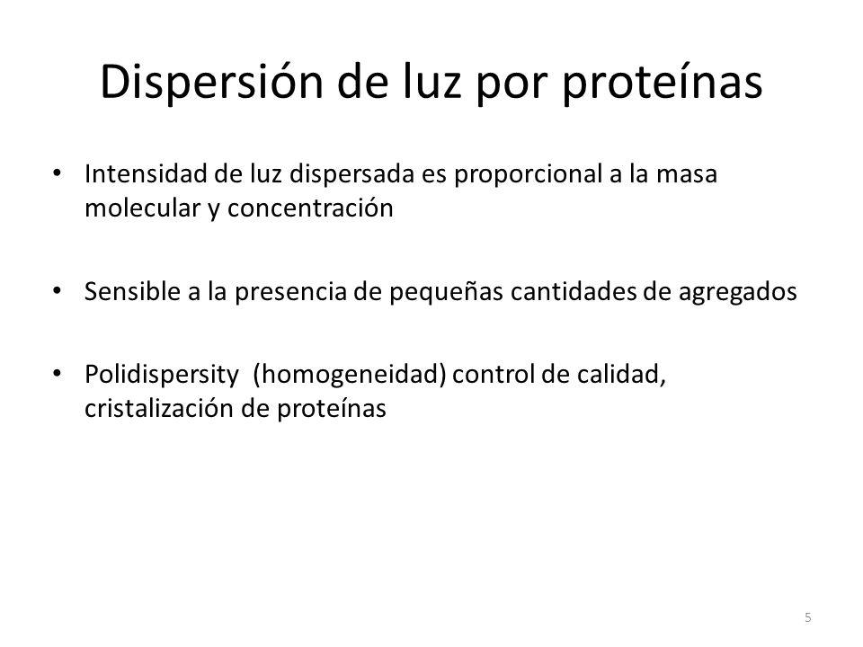 Dispersión de luz por proteínas Intensidad de luz dispersada es proporcional a la masa molecular y concentración Sensible a la presencia de pequeñas cantidades de agregados Polidispersity (homogeneidad) control de calidad, cristalización de proteínas 5