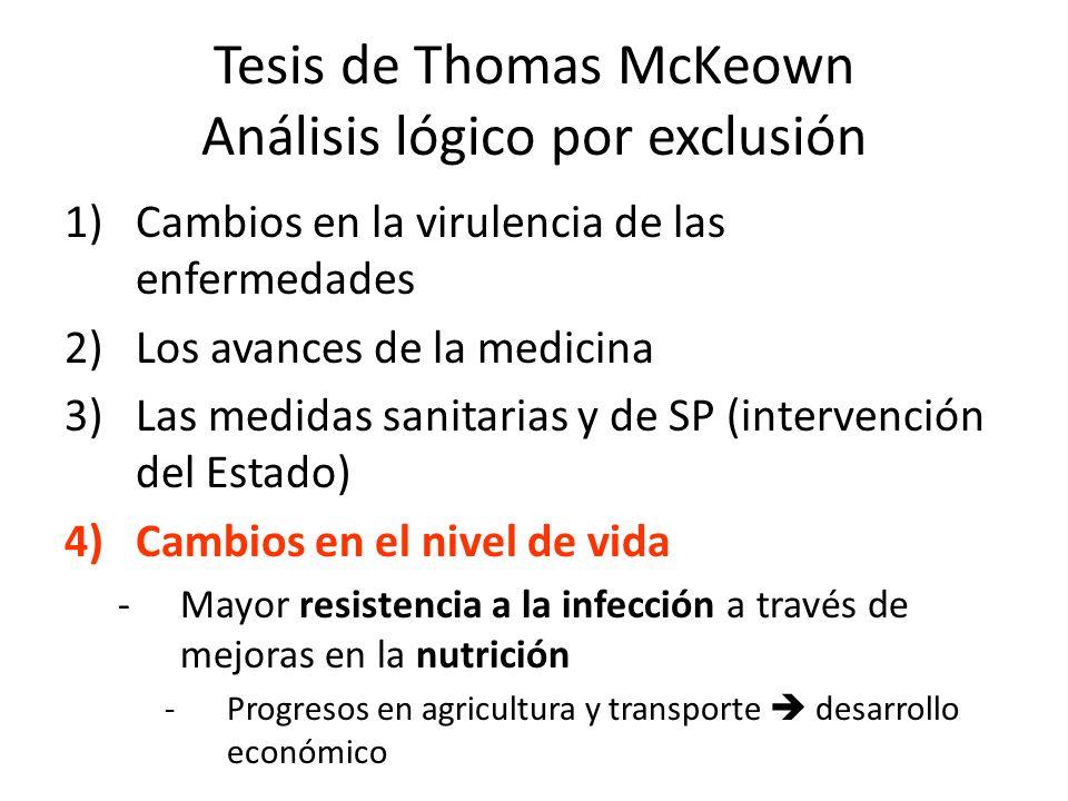 Tesis de Thomas McKeown Análisis lógico por exclusión 1)Cambios en la virulencia de las enfermedades 2)Los avances de la medicina 3)Las medidas sanita