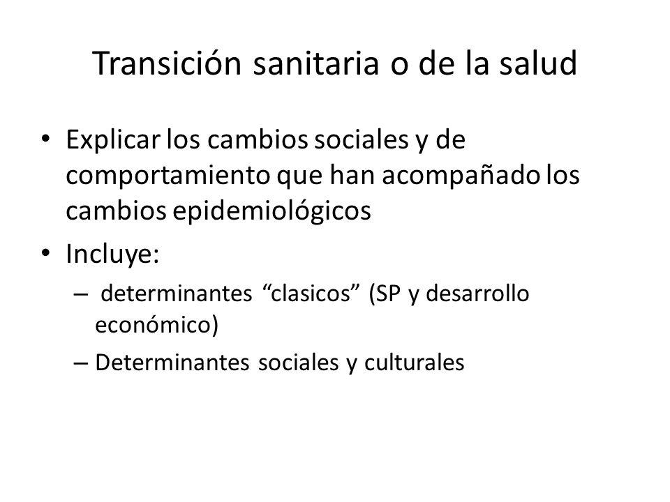 Transición sanitaria o de la salud Explicar los cambios sociales y de comportamiento que han acompañado los cambios epidemiológicos Incluye: – determi
