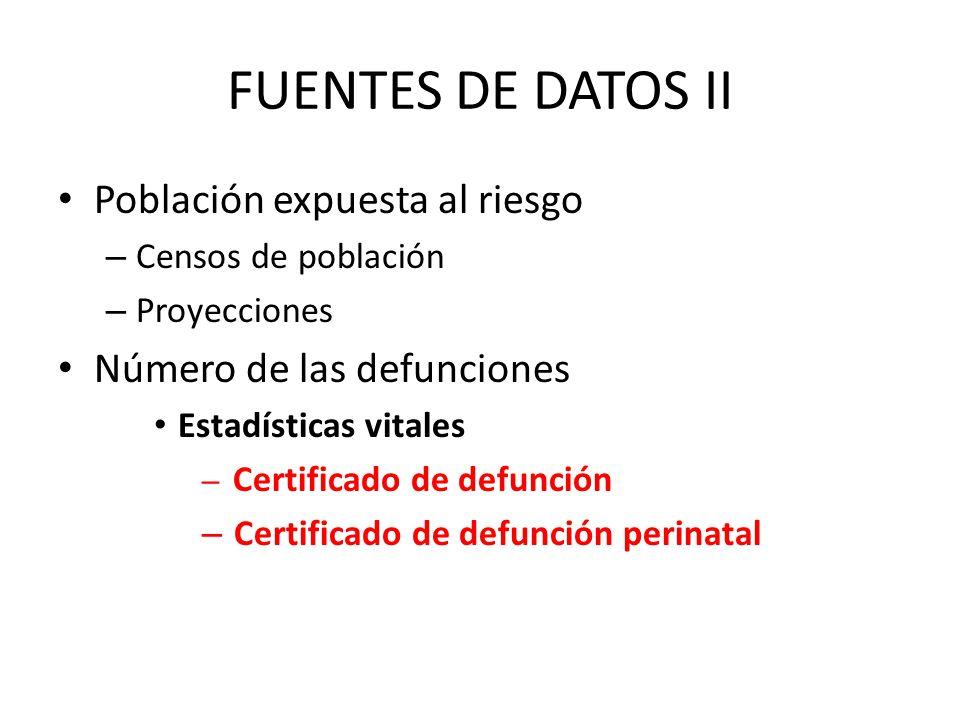 FUENTES DE DATOS II Población expuesta al riesgo – Censos de población – Proyecciones Número de las defunciones Estadísticas vitales – Certificado de