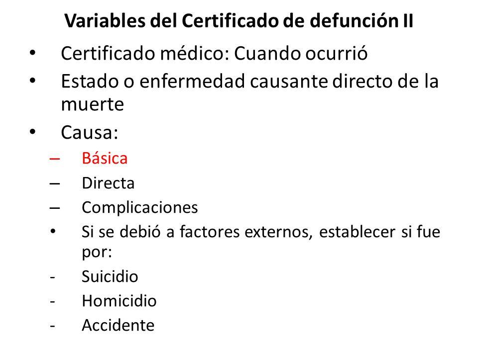 Variables del Certificado de defunción II Certificado médico: Cuando ocurrió Estado o enfermedad causante directo de la muerte Causa: – Básica – Direc