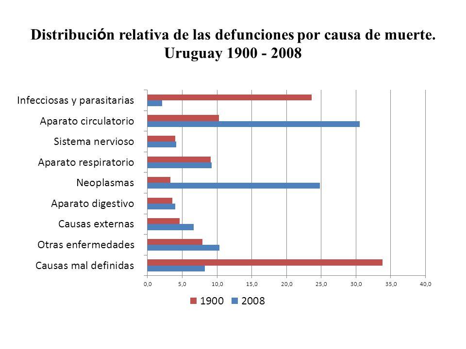 Distribuci ó n relativa de las defunciones por causa de muerte. Uruguay 1900 - 2008