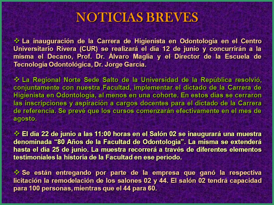 CONTENIDO NOTICIAS BREVES ARTÍCULO PERIODÍSTICO SOBRE NUESTRO SERVICIO DE PRÓTESIS BUCO MÁXILO FACIAL INFORME DE PARES EVALUADORES EXTERNOS CARRERA DO