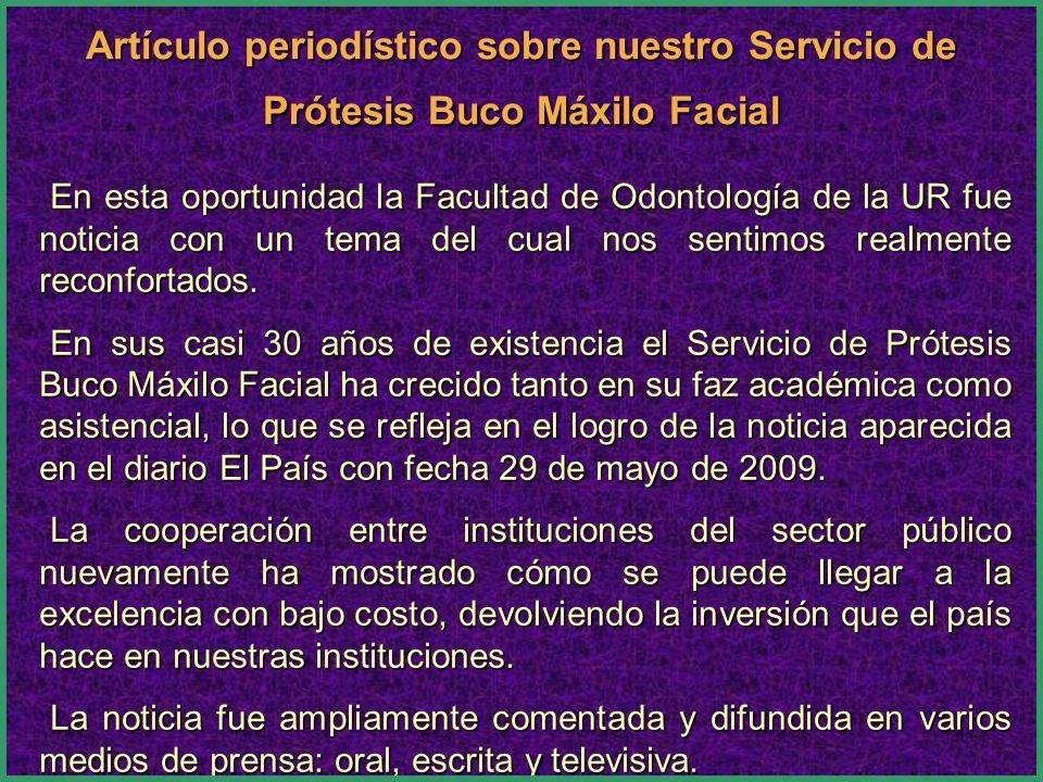 En esta oportunidad la Facultad de Odontología de la UR fue noticia con un tema del cual nos sentimos realmente reconfortados.