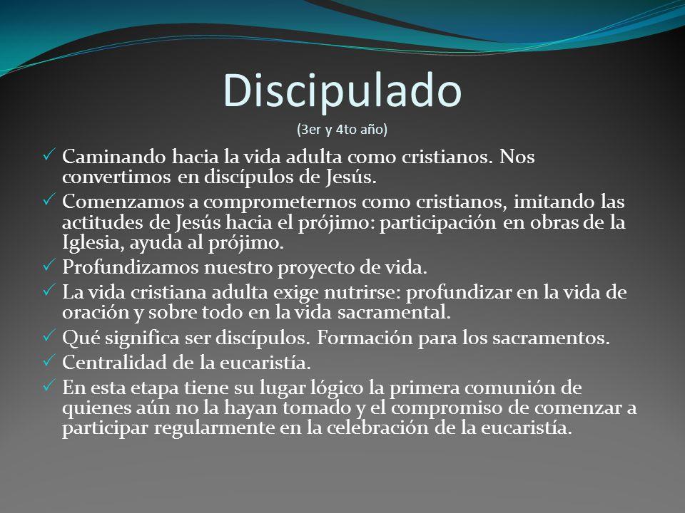 Discipulado (3er y 4to año) Caminando hacia la vida adulta como cristianos.
