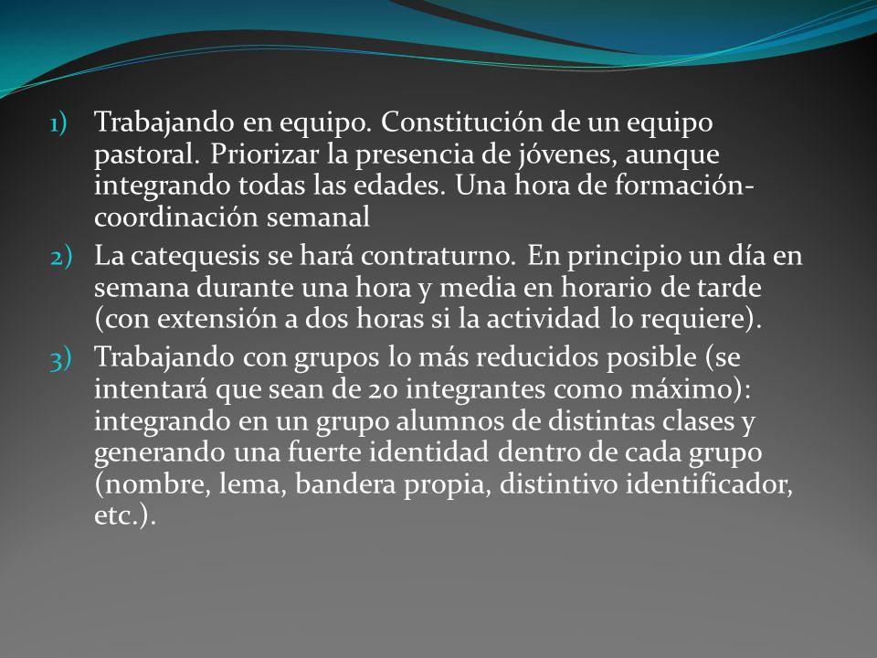 1) Trabajando en equipo.Constitución de un equipo pastoral.