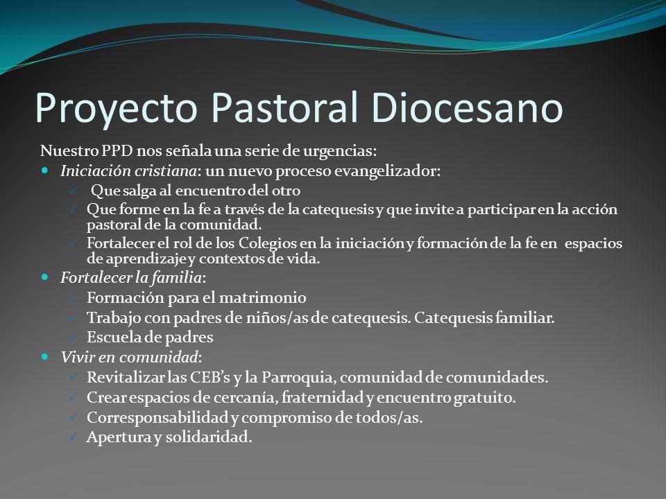 Proyecto Pastoral Diocesano Nuestro PPD nos señala una serie de urgencias: Iniciación cristiana: un nuevo proceso evangelizador: Que salga al encuentro del otro Que forme en la fe a través de la catequesis y que invite a participar en la acción pastoral de la comunidad.