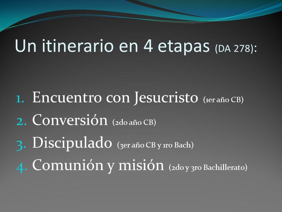 Un itinerario en 4 etapas (DA 278) : 1.Encuentro con Jesucristo (1er año CB) 2.
