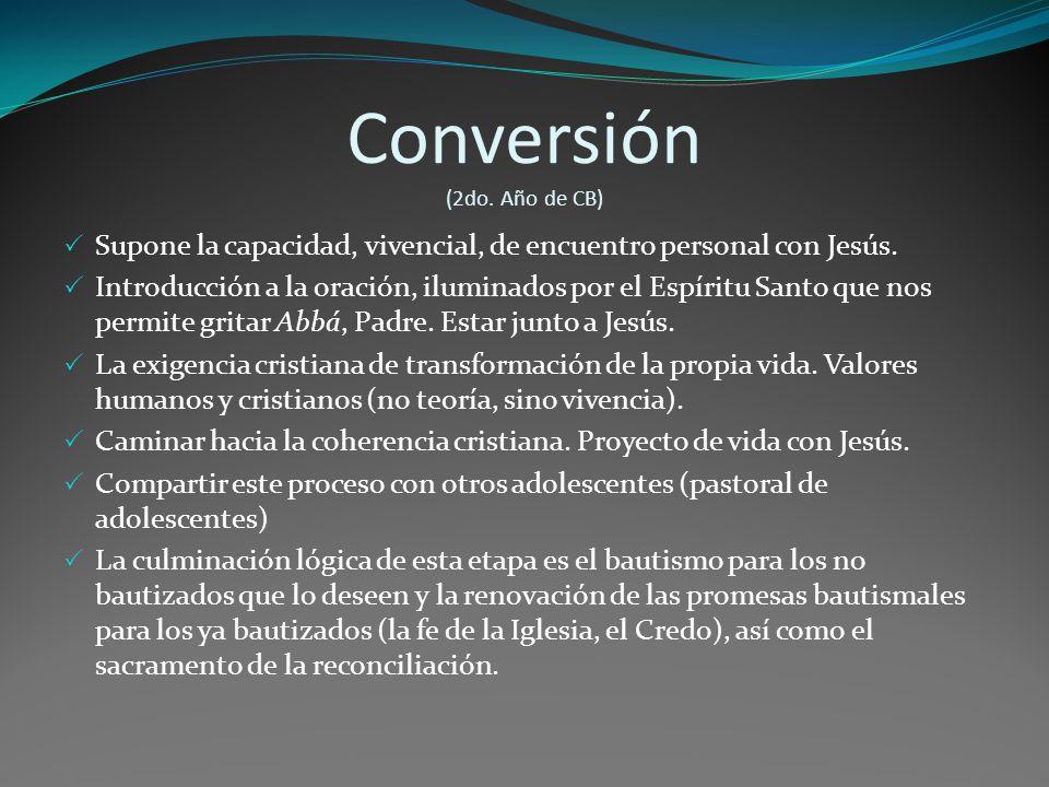 Conversión (2do.Año de CB) Supone la capacidad, vivencial, de encuentro personal con Jesús.