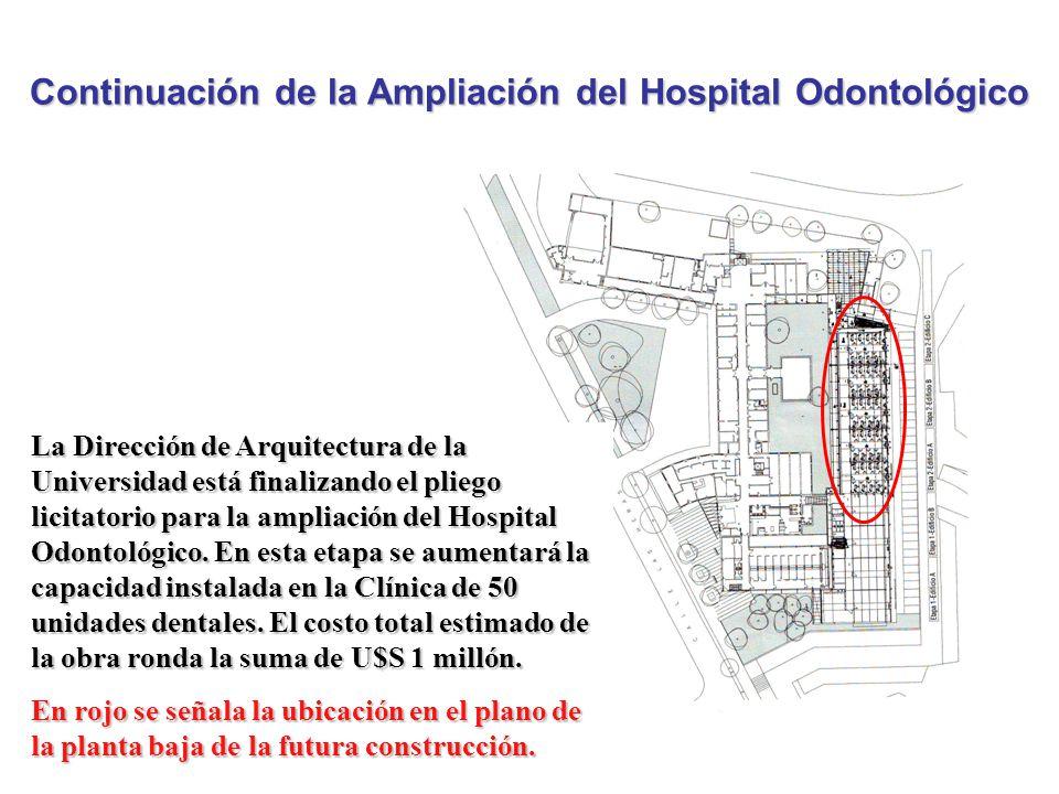 Continuación de la Ampliación del Hospital Odontológico La Dirección de Arquitectura de la Universidad está finalizando el pliego licitatorio para la ampliación del Hospital Odontológico.
