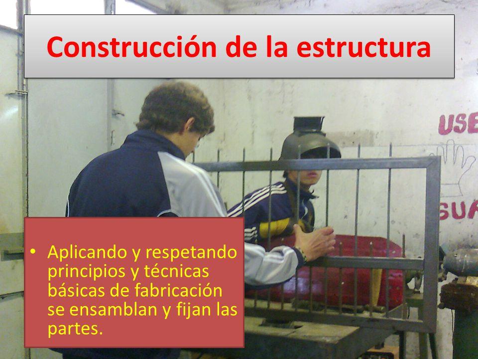 Construcción de la estructura Aplicando y respetando principios y técnicas básicas de fabricación se ensamblan y fijan las partes.