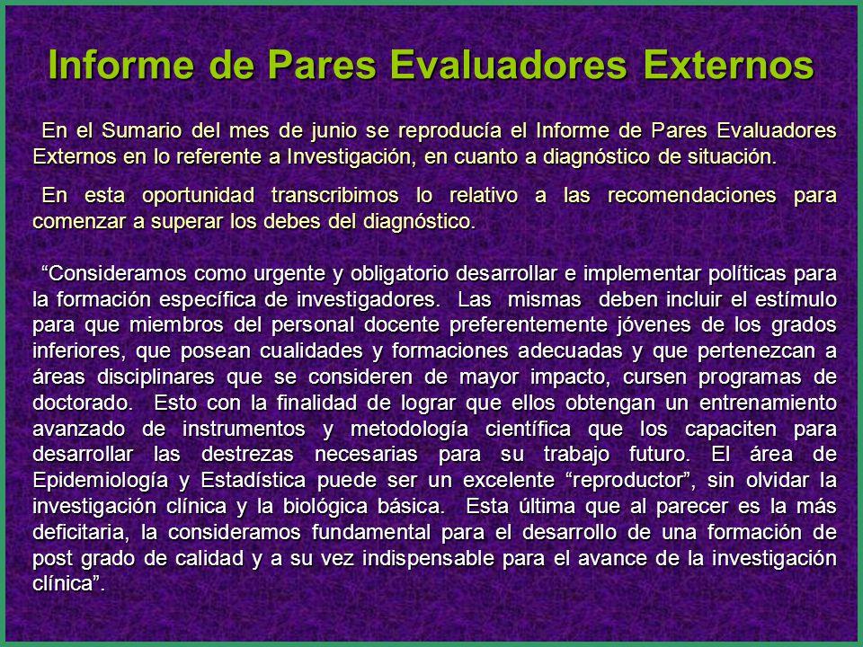 En el Sumario del mes de junio se reproducía el Informe de Pares Evaluadores Externos en lo referente a Investigación, en cuanto a diagnóstico de situ