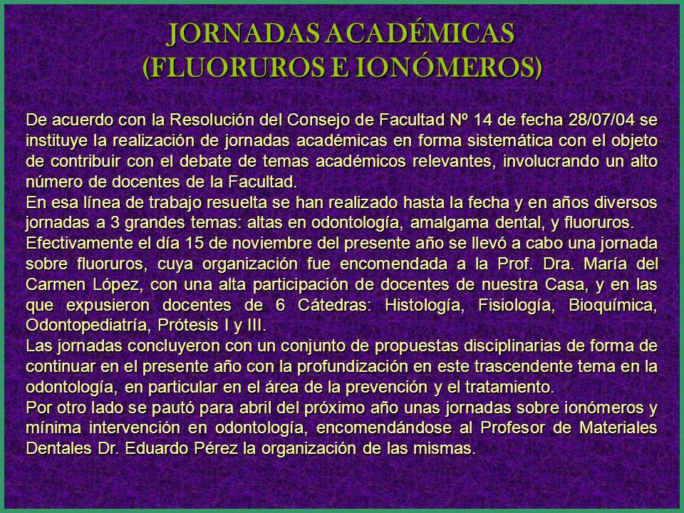 De acuerdo con la Resolución del Consejo de Facultad Nº 14 de fecha 28/07/04 se instituye la realización de jornadas académicas en forma sistemática con el objeto de contribuir con el debate de temas académicos relevantes, involucrando un alto número de docentes de la Facultad.