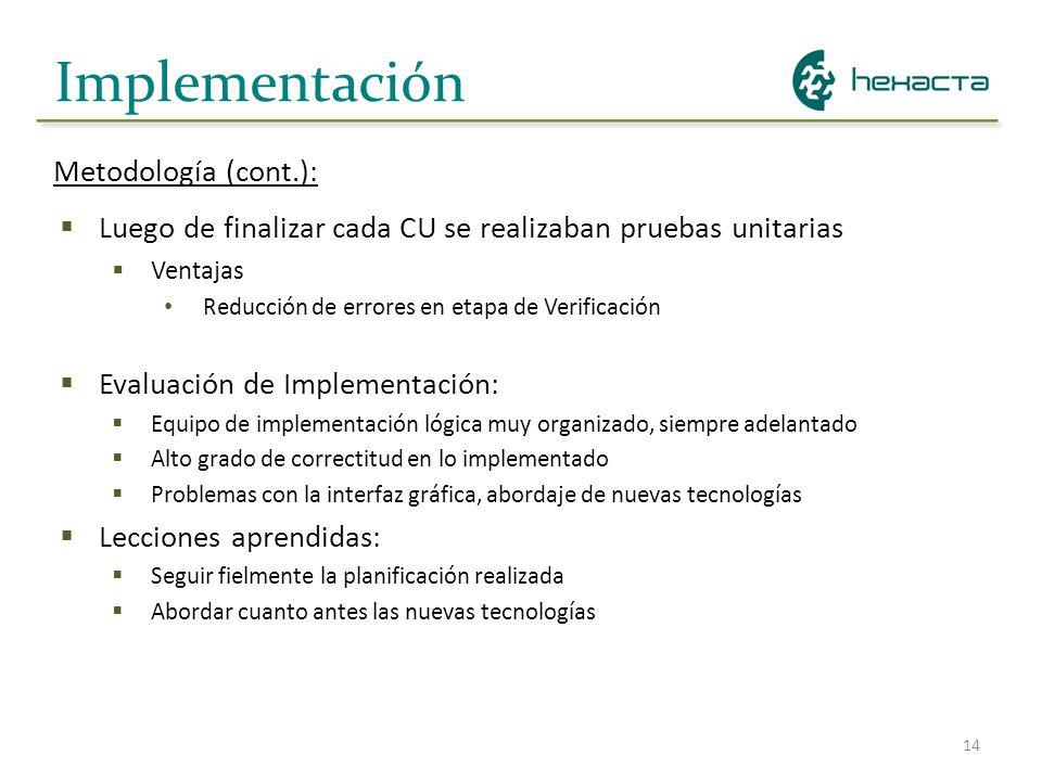 14 Implementación Metodología (cont.): Luego de finalizar cada CU se realizaban pruebas unitarias Ventajas Reducción de errores en etapa de Verificaci