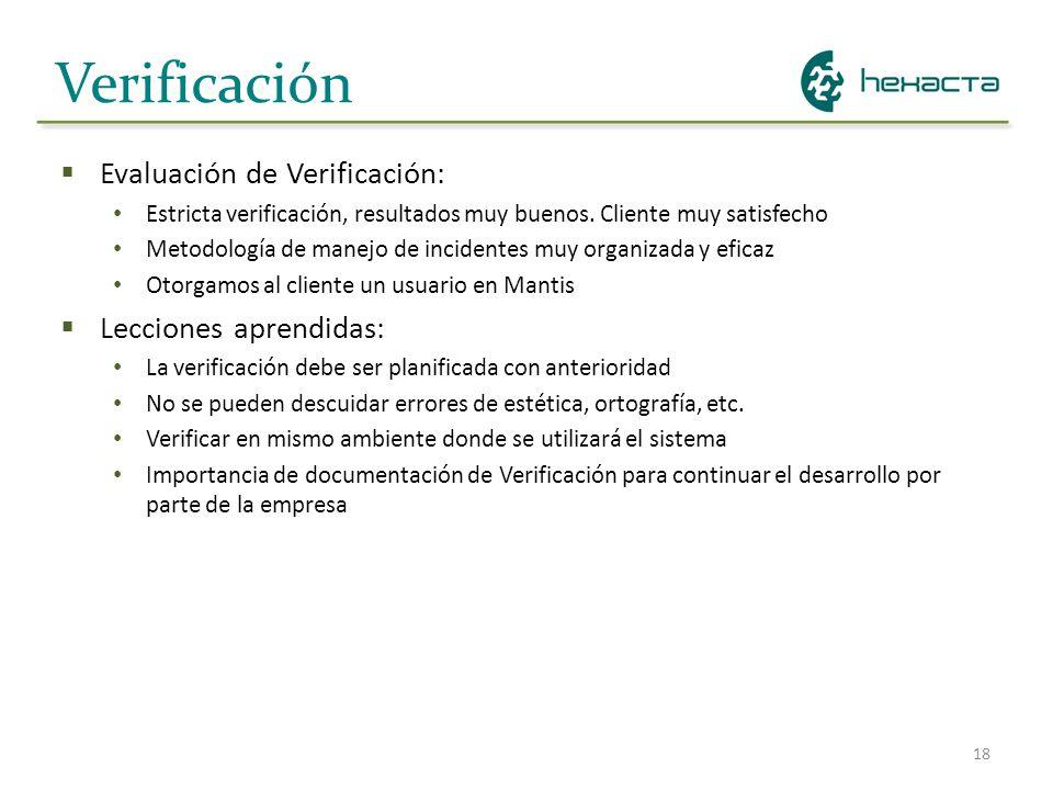 18 Verificación Evaluación de Verificación: Estricta verificación, resultados muy buenos. Cliente muy satisfecho Metodología de manejo de incidentes m