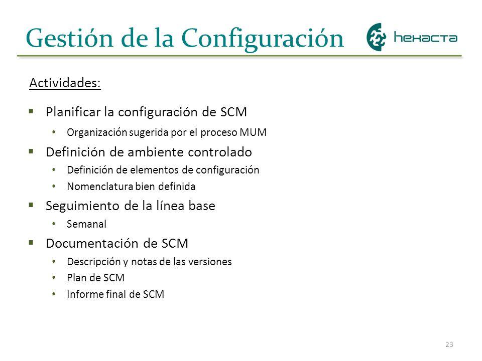 23 Gestión de la Configuración Planificar la configuración de SCM Organización sugerida por el proceso MUM Definición de ambiente controlado Definició