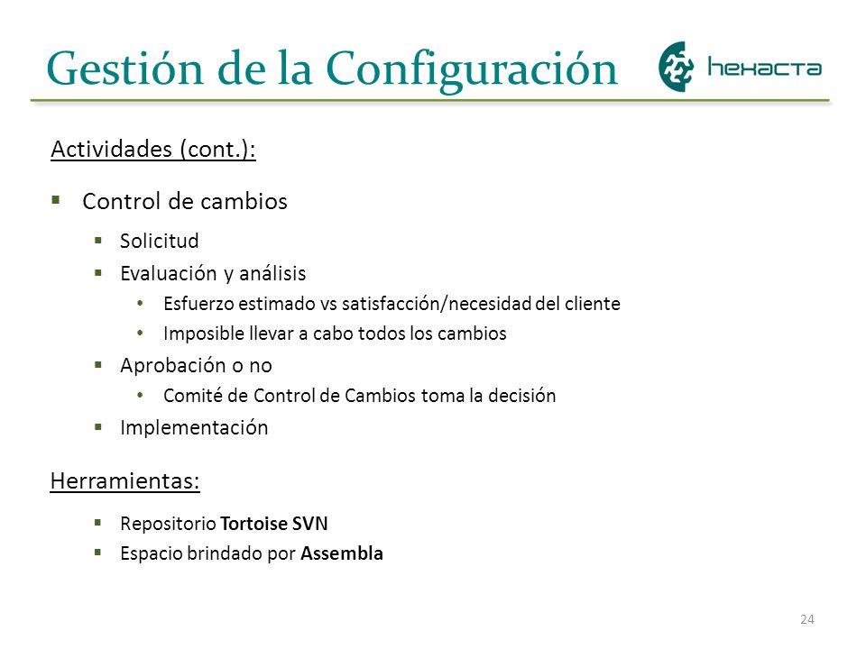 24 Gestión de la Configuración Control de cambios Solicitud Evaluación y análisis Esfuerzo estimado vs satisfacción/necesidad del cliente Imposible ll